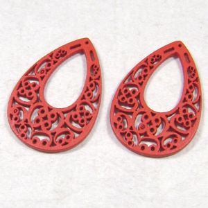 Wooden embellishments, red, 0.2cm x 2.5cm x 3.5cm, 2 Piece, (MZP006)